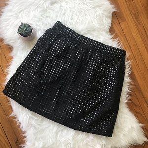 LOFT Eyelet Mini Skirt Black/White SZ M EUC!